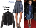 In Elizabeth Olsen's Closet - Helmut Lang Econ Wool Leather Sleeve Jacket & Preen Line Funnel Skirt