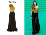 In Rosie Huntington-Whiteley's Closet - Gucci Silk-Organza and Pleated Chiffon Gown
