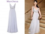 In Michelle Trachtenberg's Closet - Marchesa Appliqué Silk-Chiffon Gown