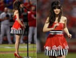 Zooey Deschanel In Moschino - 2011 World Series Game 4 - Texas Rangers v St Louis