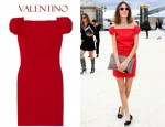 In Alexa Chung's Closet - Valentino Off-The-Shoulder Wool-Blend Crepe Dress
