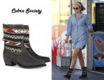 In Ali Larter's Closet - Cobra Society Hand-Woven Wool And Brushed-Leather Ankle Boots