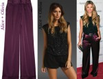 In Amber Lancaster's Closet - Alice + Olivia Sicily Off The Shoulder Top and Alice + Olivia High-Rise Satin Wide-Leg Pants