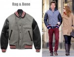 In Andrew Garfield's Closet - Rag & Bone Wool-Blend Varsity Jacket