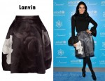 In Angie Harmon's Closet - Lanvin Rose Print Skater Skirt