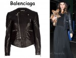 In Miranda Kerr's Closet - Balenciaga Lamb Leather Jacket and Mason by Michelle Mason Georgette Pleated Maxi Skirt