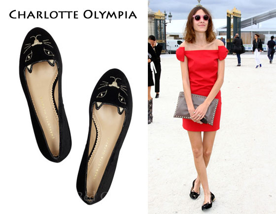 Charlotte Olympia Kitty Embroidered Velvet Flats In Red ...