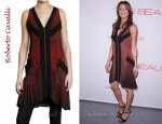 In Elisabetta Canalis's Closet - Roberto Cavalli Feather Print Silk Georgette Dress