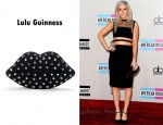 In Ellie Goulding's Closet - Lulu Guinness Black Studded Lips Clutch