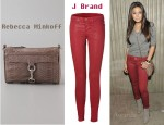 In Emmanuelle Chriqui's Closet - J Brand Red Coated Super Skinny Pants and Rebecca Minkoff Mini MAC Clutch