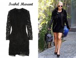 In Fergie's Closet - Isabel Marant Nelcie Embellished Lace Mini Dress & A.L.C. Emerson Leather Jacket