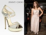 In Jessica Alba's Closet - Jimmy Choo Sierra Glitter-Coated Snake-Print Leather Platform Sandals