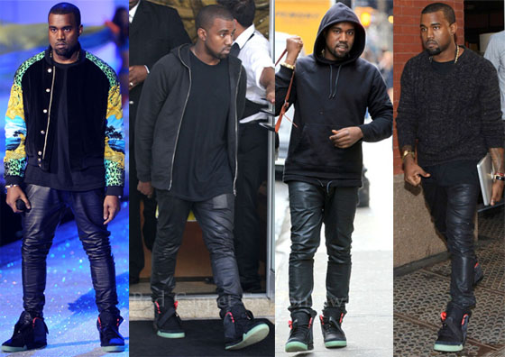 22f392a5ebd0 Kanye West Loves His…Leather Pants   Nike Air Yeezy 2 Sneakers. Kanye West  ...