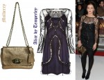 In Laura Robson's Closet - Alice by Temperley Lace Overlay Dress and Mulberry Lily Maxi Grain Metallic Shoulder Bag