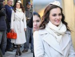 On The Set Of Gossip Girl With Leighton Meester Wearing A Diane von Furstenberg Coat