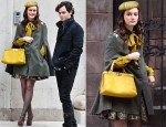 On Set With Leighton Meester Wearing A Gryphon Combo Sherlock Cape and An Alice + Olivia Oshi Skirt