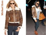 In Jennifer Hudson's Closet - Michael Kors Funnel Neck Bomber Jacket and Michael Kors Channing Suede Wedge Booties