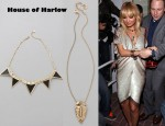In Nicole Richie's Closet - House of Harlow Triangle Armor Five Station Necklace, House of Harlow Large Hematite Pave Pendant Necklace & Halston Two-Tone Sequin Dress