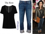 In Rachel Bilson's Closet - Goldsign Jenny Slim Crop Jeans, The Row Sabeen Modal And Silk-Blend T-Shirt and Miu Miu Mattelassé Suede Clutch