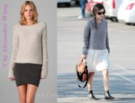 In Rachel Bilson's Closet - T by Alexander Wang Chunky Pullover & Chloé Strap Detailed Leather Ankle Boots