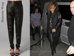 In Rihanna's Closet - Alexander Wang Leather Track Pants
