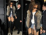 Sidewalk Style: Rihanna In Topshop Hotpants & Henry Holland Suspender Tights