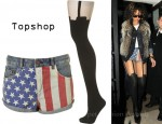 In Rihanna's Closet - Topshop Dark Denim Flag Print Hotpants and Topshop Henry Holland Suspender Tights