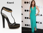 In Rose McGowan's Closet - Gucci Leight Python & Suede T-Strap Platform Sandals