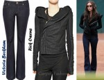 In Victoria Beckham's Closet - Rick Owens Blister Washed Leather Biker Jacket and Victoria Beckham Clean Mid-Rise Bootcut Jeans