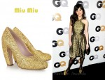 In Zooey Deschanel's Closet - Miu Miu Glitter-Finish Leather Pumps