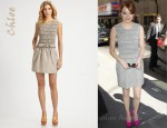 In Emma Stone's Closet - Chloé Ruched Cotton Dress and Brian Atwood Maniac Calf Hair Platform Pumps