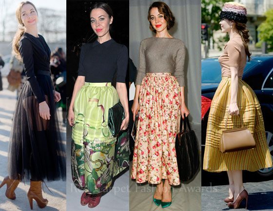 d31e6d0333 Ulyana loves midi skirts. Prada is clearly her favourite brand, but she  often opts for sheer and lace midi skirts as well as a floral-print skirt  from her ...