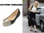 Amber Heard's Salatore Ferragamo Chained Bow Suede Flats