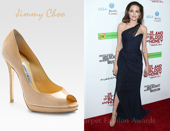 Angelina Jolie S Jimmy Choo Quiet Patent Peep Toe Pumps