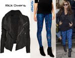 Beyonce's ASOS Ikat Print Leggings and Rick Owens Blister Washed-Leather Biker Jacket