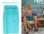 Blake Lively's Burberry Prorsum Raffia-Trimmed Suede Pencil Skirt