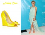 Brooklyn Decker's Jimmy Choo Biel Patent-Leather Wedges