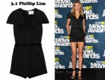 Cameron Diaz' 3.1 Phillip Lim Belted Structured-Satin Playsuit