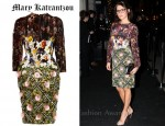 Danielle Lineker's Mary Katrantzou Jewel Tree Appliquéd Velvet Dress and Lulu Guinness Pewter Metallic Snakeskin Lips Clutch