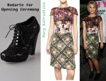Dianna Agron's Mary Katrantzou Silk Crepe Dress and Rodarte for Opening Ceremony Crochet Lace Up Booties