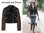 Emma Roberts' Elizabeth and James New Rory Bouclé-Sleeved Denim Biker Jacket