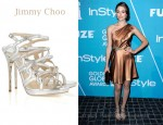 Emmy Rossum's Jimmy Choo Dart Glitter Metallic Leather Sandals
