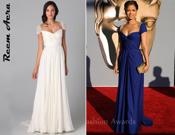 e05a11300678 Who  Gugu Mbatha-Raw wearing a Reem Acra twist front gown with jeweled  sleeves