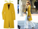 Jennifer Lopez's The Row Hamilton Wool-Crepe Coat and Charlotte Olympia Dolly Velvet Platform Pumps