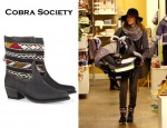 Jessica Alba's Cobra Society Hand-woven Wool And Brushed-Leather Ankle Boots