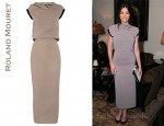 Jessica Biel's Roland Mouret Aurora Rippled Crepe Midi Dress and Stella McCartney Faux Patent-Leather Pumps