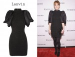 Julianne Moore's Lanvin Ribbed Wool-Blend And Silk-Gazar Dress