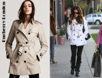 Kate Beckinsale's Burberry London Double Breasted Short Trench Coat and Givenchy Pandora Black Medium Bag