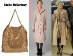 LeAnn Rimes' Viktor & Rolf Knit Sleeve Trench Coat and Stella McCartney Chain Detail Metallic Tote Bag