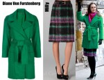 Leighton Meester's Diane Von Furstenberg Harrington Coat and Milly Suzie Plaid Skirt
